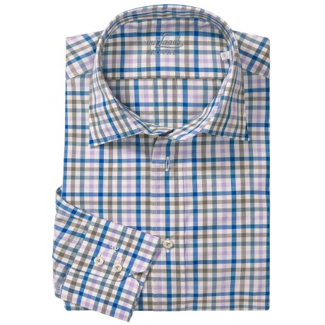 Van Laack Ret Shirt - Spread Collar, Long Sleeve (For Men) in Blue/Purple Mini Check