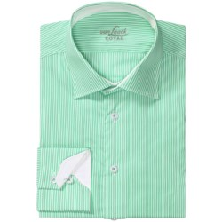 Van Laack Ret Stretch Cotton Blend Shirt - Spread Collar, Long Sleeve (For Men) in Teal/White Stripe