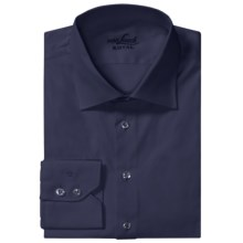 Van Laack Ret Stretch Cotton Shirt - Spread Collar, Long Sleeve (For Men) in Navy Solid - Closeouts