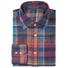 Van Laack Reto Linen Shirt - Roll-Up Long Sleeve (For Men) in Orange/Pink/Blue Plaid - Closeouts