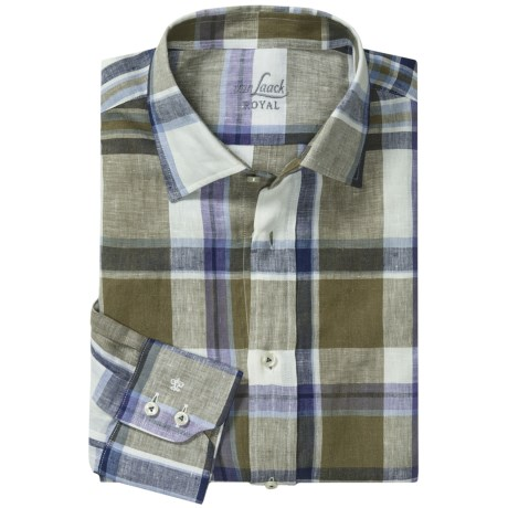 Van Laack Reto Linen Shirt - Spread Collar, Long Sleeve (For Men) in Blue/White Plaid
