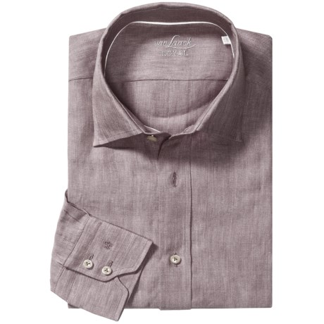 Van Laack Reto Linen Shirt - Spread Collar, Long Sleeve (For Men) in Brown