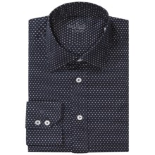 Van Laack Reto Tailor Fit Shirt - Long Sleeve (For Men) in Deep Navy/White Start Print - Closeouts