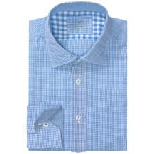 Van Laack Reton Shirt - Long Sleeve (For Men) in Baby Blue/White Mini Check - Closeouts