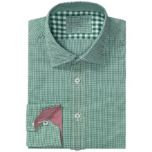 Van Laack Reton Shirt - Long Sleeve (For Men) in Green/White Mini Check - Closeouts