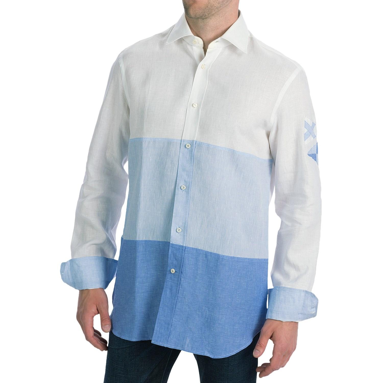 Van laack rey linen shirt tailor fit long sleeve for for Mens light blue linen shirt
