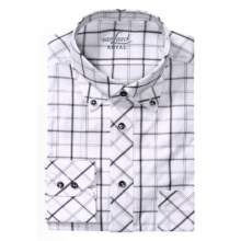 Van Laack Rezzo Tailored Fit  Sport Shirt - Long Sleeve (For Men) in Charcoal/White Windowpane - Closeouts