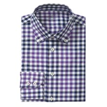 Van Laack Rezzo Tailored Fit  Sport Shirt - Long Sleeve (For Men) in Purple/Navy Check - Closeouts
