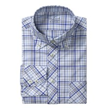 Van Laack Rezzo Tailored Fit  Sport Shirt - Long Sleeve (For Men) in White/Blue/Tan Check - Closeouts