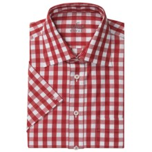 Van Laack Rigo Cotton Shirt - Short Sleeve (For Men) in Red/White Check - Closeouts