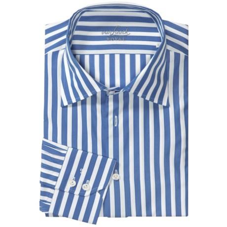 Van Laack Rigo Shirt - Spread Collar, Long Sleeve (For Men) in Powder Blue Awning Stripe