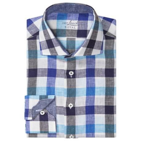 Van Laack Rivara Linen Shirt - Long Sleeve (For Men) in White/Blue/Black Check