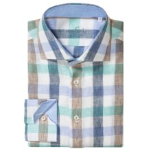 Van Laack Rivara Linen Shirt - Long Sleeve (For Men) in Whtie/Blue/Brown Check - Closeouts