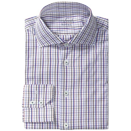 Van Laack Rivara Multi-Check Shirt - Tailor Fit, Spread Collar, Long Sleeve (For Men) in Blue/Red/White Check