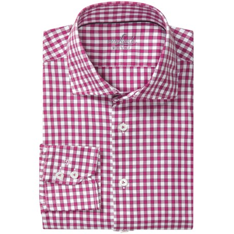 Van Laack Rivara Multi-Check Shirt - Tailor Fit, Spread Collar, Long Sleeve (For Men) in Red/White Check