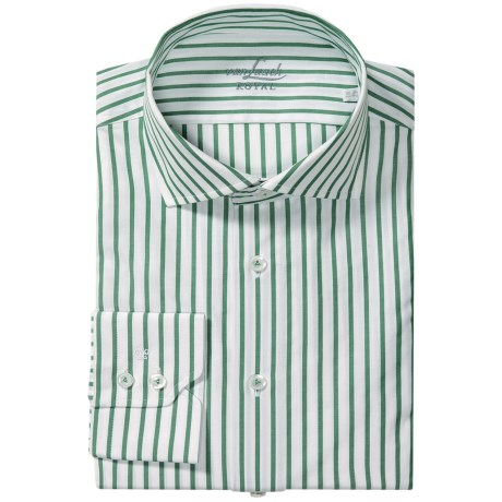 Van Laack Rivara Multi-Stripe Shirt - Tailor Fit, Spread Collar, Long Sleeve (For Men) in Green/White Stripe