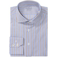 Van Laack Rivara Pattern Shirt - Tailor Fit, French Front, Long Sleeve (For Men) in Blue/Brown Awning Stripe - Closeouts