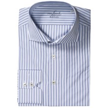 Van Laack Rivara Pattern Shirt - Tailor Fit, French Front, Long Sleeve (For Men) in White/Blue Stripe - Closeouts