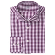 Van Laack Rivara Sport Shirt - Long Sleeve (For Men) in Purple/White Gingham Check - Closeouts