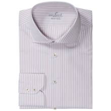 Van Laack Rivara Striped Shirt - Tailor Fit, French Front, Long Sleeve (For Men) in White/Red Stripe - Closeouts