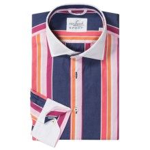 Van Laack Rivas Shirt - Tailor Fit, Long Sleeve  (For Men) in Navy/Pink/White Stripe - Closeouts