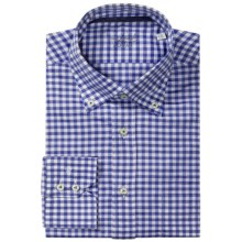 Van Laack Ron Cotton-Linen Shirt - Button Down, Long Sleeve (For Men) in White/Blue Check - Closeouts