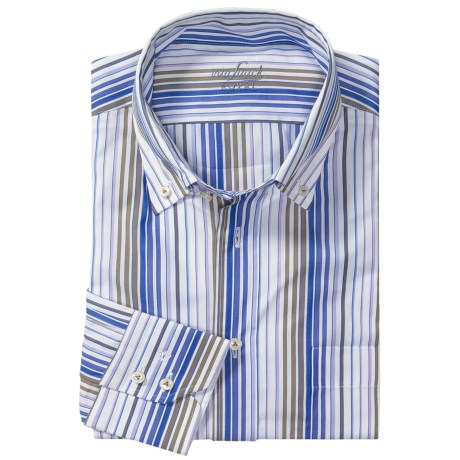 Van Laack Ron Cotton Shirt - Button Down, Long Sleeve (For Men) in Blue/Brown Multi Stripe