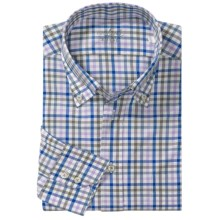 Van Laack Ron Cotton Shirt - Button Down, Long Sleeve (For Men) in Blue/Purple Mini Check - Closeouts