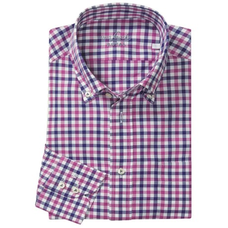 Van Laack Ron Cotton Shirt - Button Down, Long Sleeve (For Men) in Navy/Pink Check