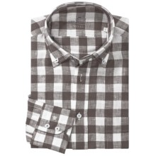 Van Laack Ron Linen Shirt - Button Down, Long Sleeve (For Men) in Charcoal Check - Closeouts