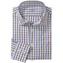 Van Laack Rondo Cotton Shirt - Spread Collar, Long Sleeve (For Men) in Blue/Brown Check - Closeouts