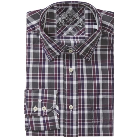 Van Laack Rondo Dress Shirt - Tailored Fit, Long Sleeve (For Men) in Olive/Burgundy/Plum Multi Check