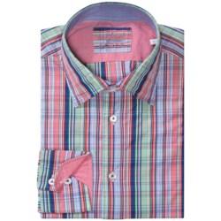 Van Laack Rott Shirt - Spread Collar, Long Sleeve (For Men) in Green/Red/Blue Multi Stripe