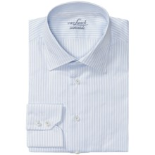 Van Laack Set Spread Collar Shirt - Cotton, Long Sleeve (For Men) in White/Blue Mini Stripe - Closeouts