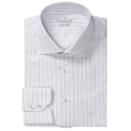 Van Laack Sivara Shirt - Cotton, Long Sleeve (For Men) in White/Pink/Navy Tonal Stripe