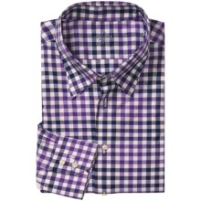 Van Laack Trim Fit Hidden Button-Down Sport Shirt - Long Sleeve (For Men) in Purple/Navy/White Check - Closeouts