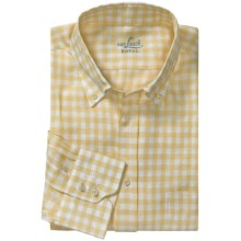 Van Laack Trim Fit Linen Sport Shirt - Long Sleeve (For Men) in Button Down Yellow Check - Closeouts