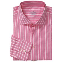 Van Laack Trim Fit Sport Shirt - Cotton-Linen, Long Sleeve (For Men) in Point Collar Pink/White Stripe - Closeouts