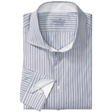 Van Laack Trim Fit Sport Shirt - Spread Collar, Long Sleeve (For Men) in Blue Beaded/White/Tan Stripe - Closeouts