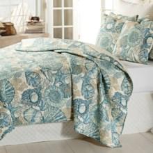 Vantage Crown Brushed Ashore Cotton Quilt Set - Full-Queen in Blue - Overstock