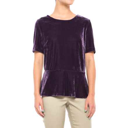 Velour Peplum Shirt - Short Sleeve (For Women) in Purple - 2nds
