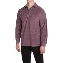 Velour Shirt - Zip Neck, Long Sleeve (For Men) in Burgundy Solid - 2nds