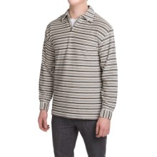 Velour Shirt - Zip Neck, Long Sleeve (For Men) in Multi Stripe - 2nds