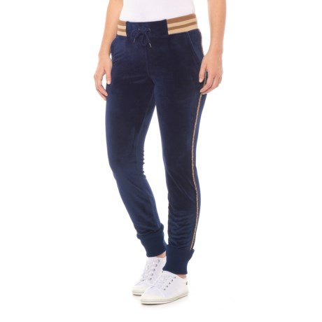 Velour Striped Joggers (For Women)