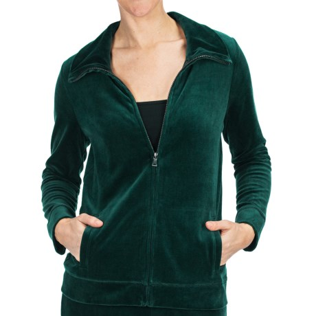 Velour Track Jacket (For Women) in Forest Green