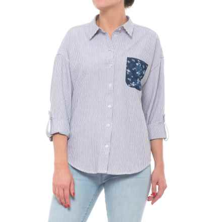 Button Down Patch Pocket Shirt - Long Sleeve (For Women) in Grey Stripe/Blue Floral - Closeouts