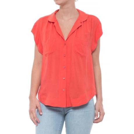 Velvet Heart Button Down Pocket Shirt - Short Sleeve (For Women) in Poppies
