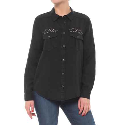 Button Down Shirt - Long Sleeve (For Women) in Black - Closeouts