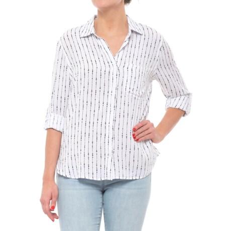 Velvet Heart Button Down Shirt - Long Sleeve (For Women) in Ivory/Black Fairy Lights