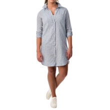 Velvet Heart Chambray Dress - Long Roll-Up Sleeve (For Women) in Blue/White Stripe - Overstock